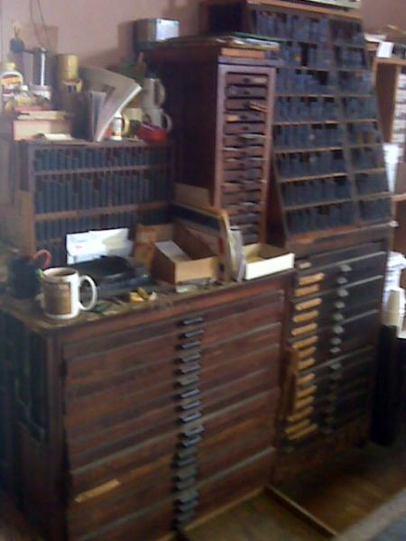 image: furniture and type cases