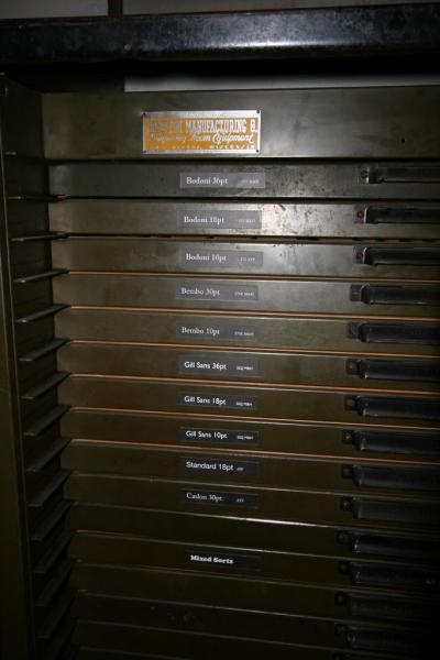 image: Close-up of complete cases of type