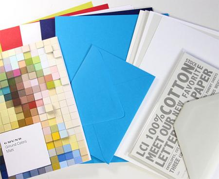 image: Letterpress sampler includes 100% cotton, Gmund Matt papers and envelopes, and the Gmund Color System Swatchbook.