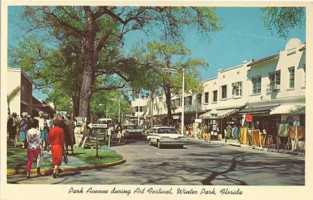 image: Winter Park, Florida. In the 60's. Still looks like this. Including that amazing station wagon.
