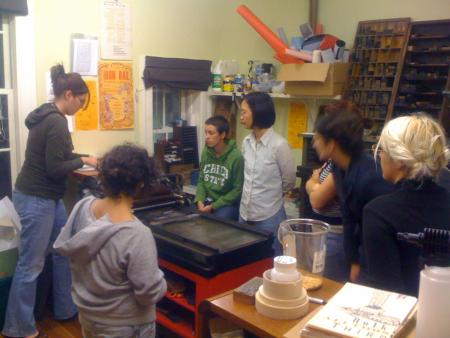 image: Letterpress workshop in process, 5 Students, 3 weeks, 4 hours a week.  Vandercook Proof Press #4.  The letterpress is in a room of its own attached to the main room.