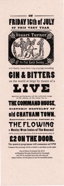 image: handbill - stuart turner & the flat earth society